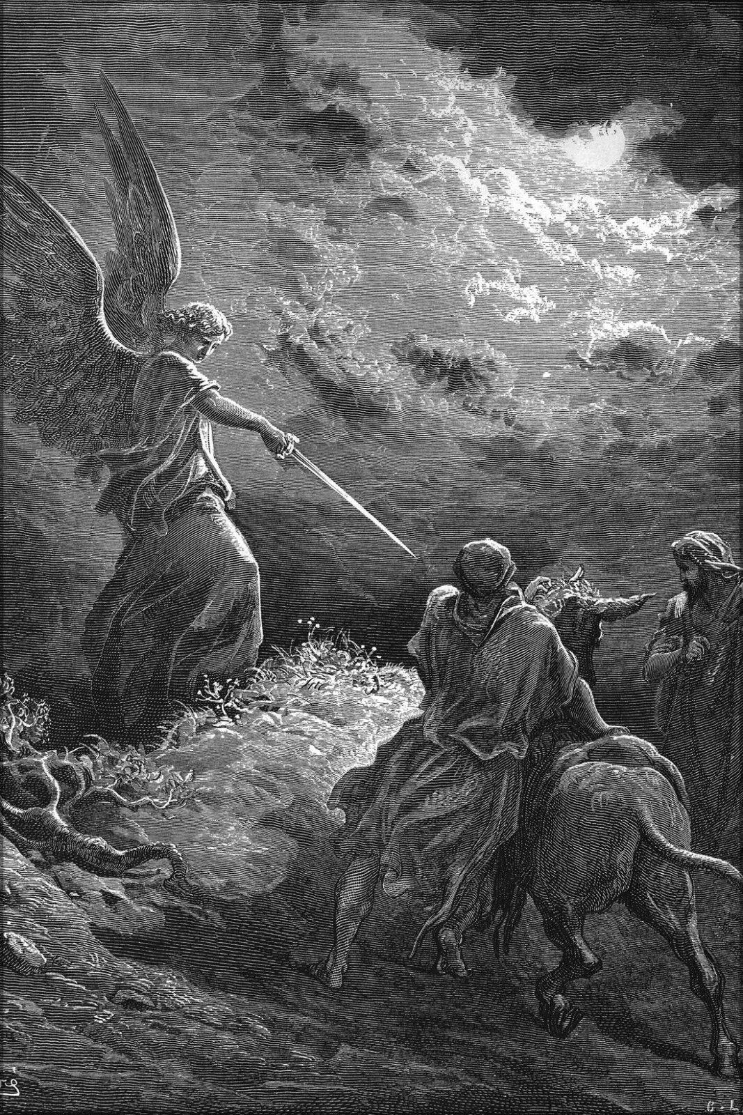 Plakat,Viele Größen; an Angel Erscheint zu Balaam von Gustave Dore Englisch
