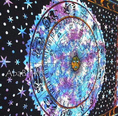 Twin Zodiac Astrology Indian Tapestry Wall Hanging Hippie Mandala Bedspread Art
