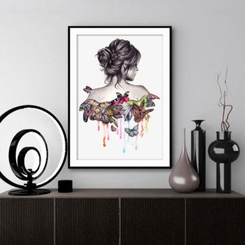 Butterfly Beauty Girl 5D Diamond Rhinestone DIY Painting Craft Kit Home Decor UK