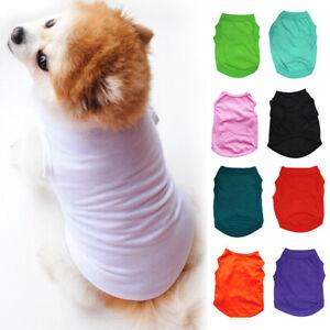 Uk Summer Pet Clothes Basic Cotton Dog Puppy Vest Apparel T Shirt Simple Tops Ebay