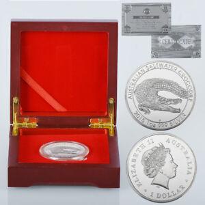 WR-2015-Australian-Saltwater-Crocodile-SILVER-Coin-Mint-1-Xmas-Gift-Wooden-Box