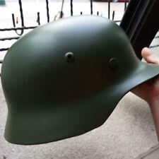 Green WW2 German Elite WH Army M35 M1935 Steel Helmet Stahlhelm Retro Brilliant