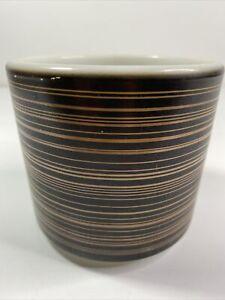Vintage Pyrex Terra Brown Stripe Handleless No Handle Mug Thick Milk Glass 13 oz
