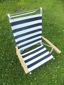 Details about Vintage Beach Chair Aluminum Cloth Folding Low Fabric Canvas  Recliner Stripes