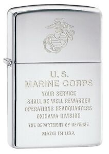 Zippo-Lighter-Engraved-USMC-Marines-Okinawa-High-Polish-Chrome-80391