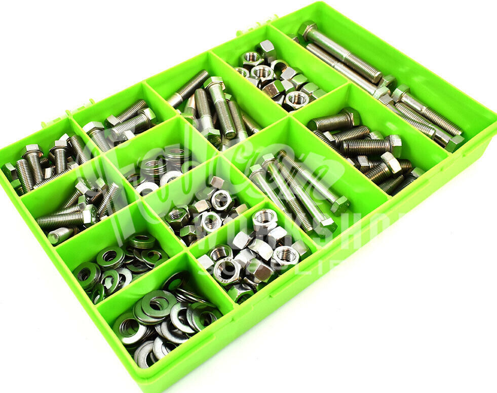 290 ASSORTED A2 STAINLESS 7 16  5 16  3 8  UNF NUTS NYLOC FULL BOLTS WASHERS KIT