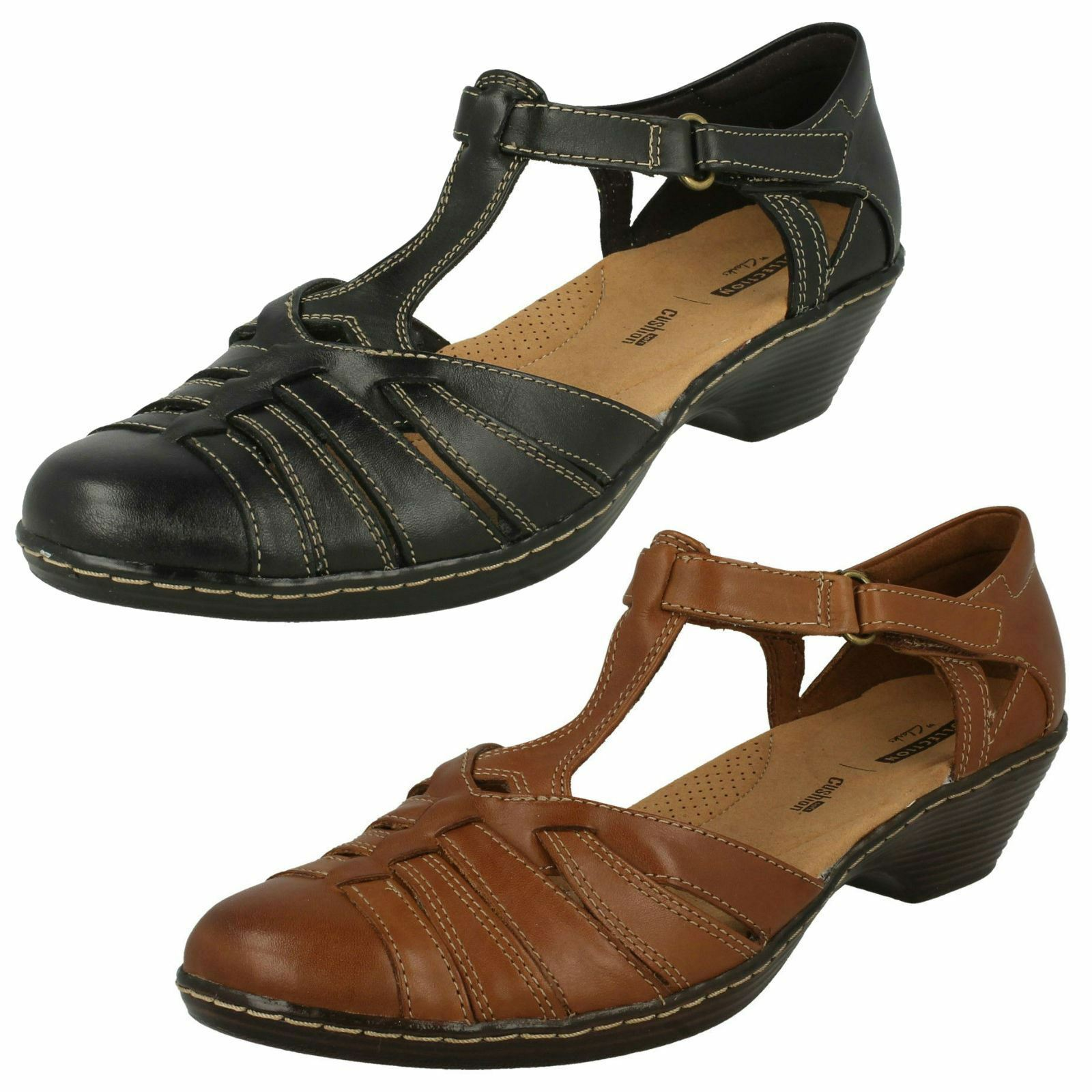 Ladies Clarks Scoop Wedge T-Bar Shoes Wendy Alto