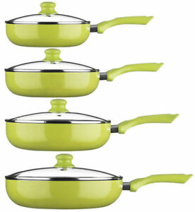 Ecocook-Frying-Pan-with-Glass-Lid-24-26-28-30-cm-NON-STICK-Lime-Green-Colour
