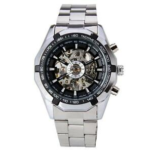 New WINNER Mechanical Watch for Men with Skeleton Dial Automatic Full Steel