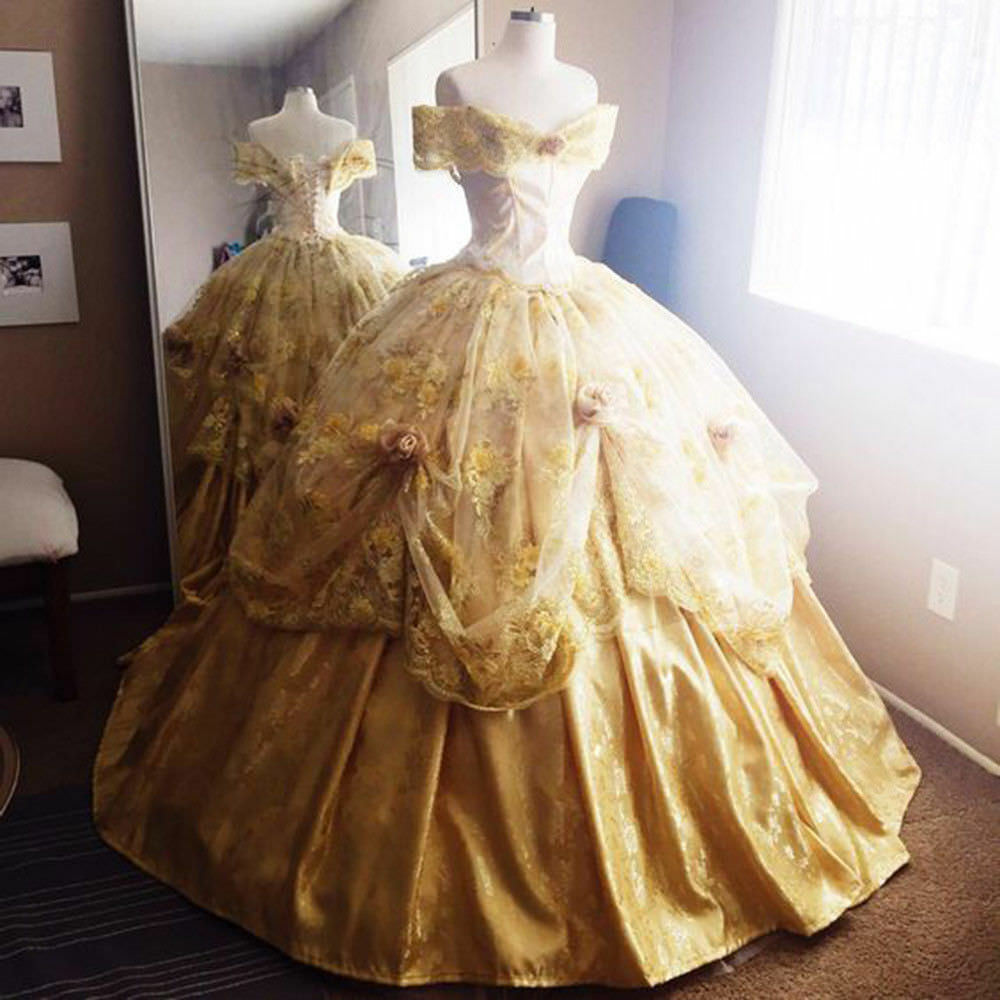 Vintage Off Shoulder Quinceanera Dresses Belle Princess Prom Cosplay Party Gown