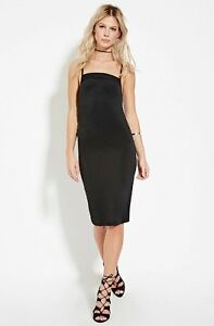 75066bb629d Image is loading FOREVER-21-Ruched-Sides-Little-Black-Camisole-Dress-