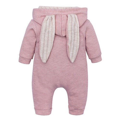 Baby Infants Casual Thick Jumper Long Sleeve Hooded Overalls Winter Warm Romper