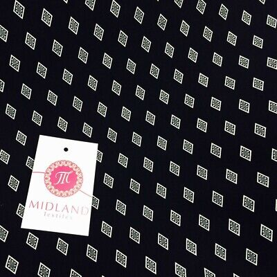 """Navy and White aztec print silky polyester Satin crepe fabric 58/"""" Wide M145-30"""