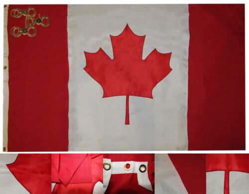 4x6 Canada Country 4/'x6/' Premium Nylon Embroidered 600D Flag 3 Grommets 3 Clips