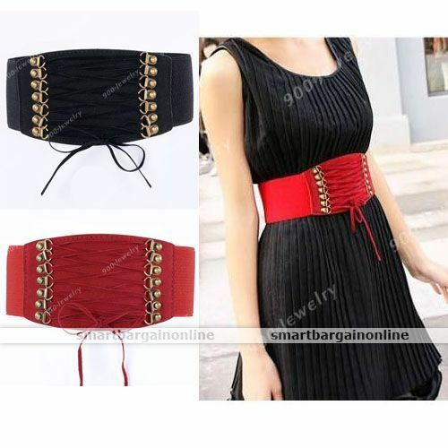 New Women Elastic Faux Leather Buckle Waist Wide Belt Stretch Waistband Cinch