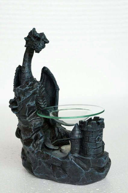 Dragon Oil Burner Glass Plate with T-Light Candle