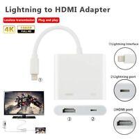 Lightning To Av Hdmi/hdtv Tv Adapter White For Apple Ipad Iphone 5s 6s Plus