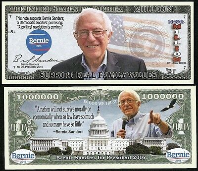 FREE SLEEVE Bernie Sanders Million Dollar Bill Fake Funny Money Novelty Note