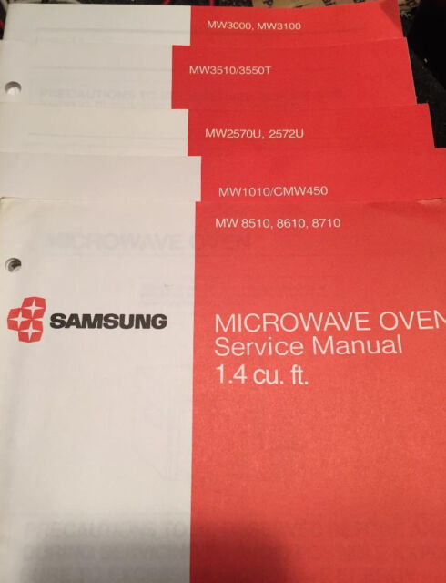 set of 10 samsung microwave factory service manuals for 21 models ebay rh ebay com Samsung Microwave Support samsung microwave oven model me18h704sfs owners manual