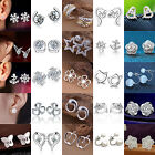 Luxury Elegant Women`s 925 Sterling Silver Crystal Ear Stud Earrings Jewelry Hi
