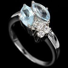 Natural BLUE TOPAZ & White Cubic Zirconia 925 STERLING SILVER RING S5.75