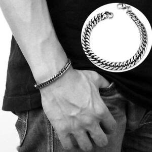 Biker-Silver-Stainless-Steel-Link-Chain-Men-039-s-Bracelet-Cuff-Bangle-Wristband