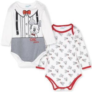 3cabeb3e1 Details about Disney Mickey Minnie Mouse Baby Boys Romper Gift Bodysuit  2-PACK Set 3-18 Mnts