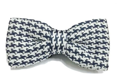 Knit Knitted Houndstooth Bow Tie Bowtie Necktie UK Wedding