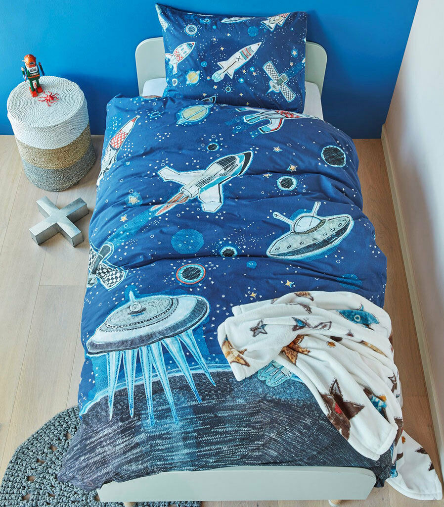 Space Quilt Doona Duvet Cover Set Boys Astronomy Spaceship UFO Space Bedding New
