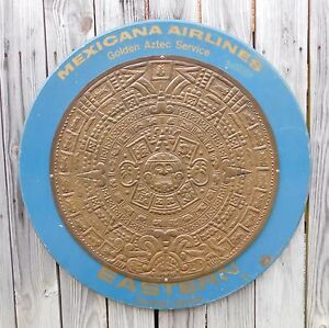 1950-039-s-Vintage-Mexicana-Eastern-Airlines-Wood-and-Brass-Mayan-Sun-Calendar-Sign