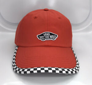 Vans-Adjustable-Strapback-Hat-Checkerboard-Off-The-Wall-Red
