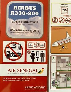 New-AIR-SENEGAL-Brand-New-Mint-Safety-Card-VERY-RARE-Airbus-A-330-900-NEO
