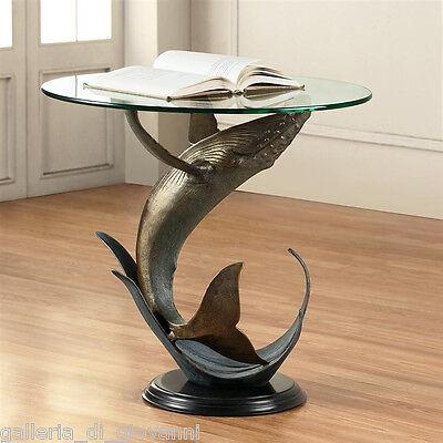 OCEAN WHALE Glass Table Nautical Marine  Coastal Marble Glass