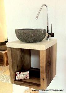 waschtisch design luxus flußstein holz marmor waschbecken granit, Hause ideen