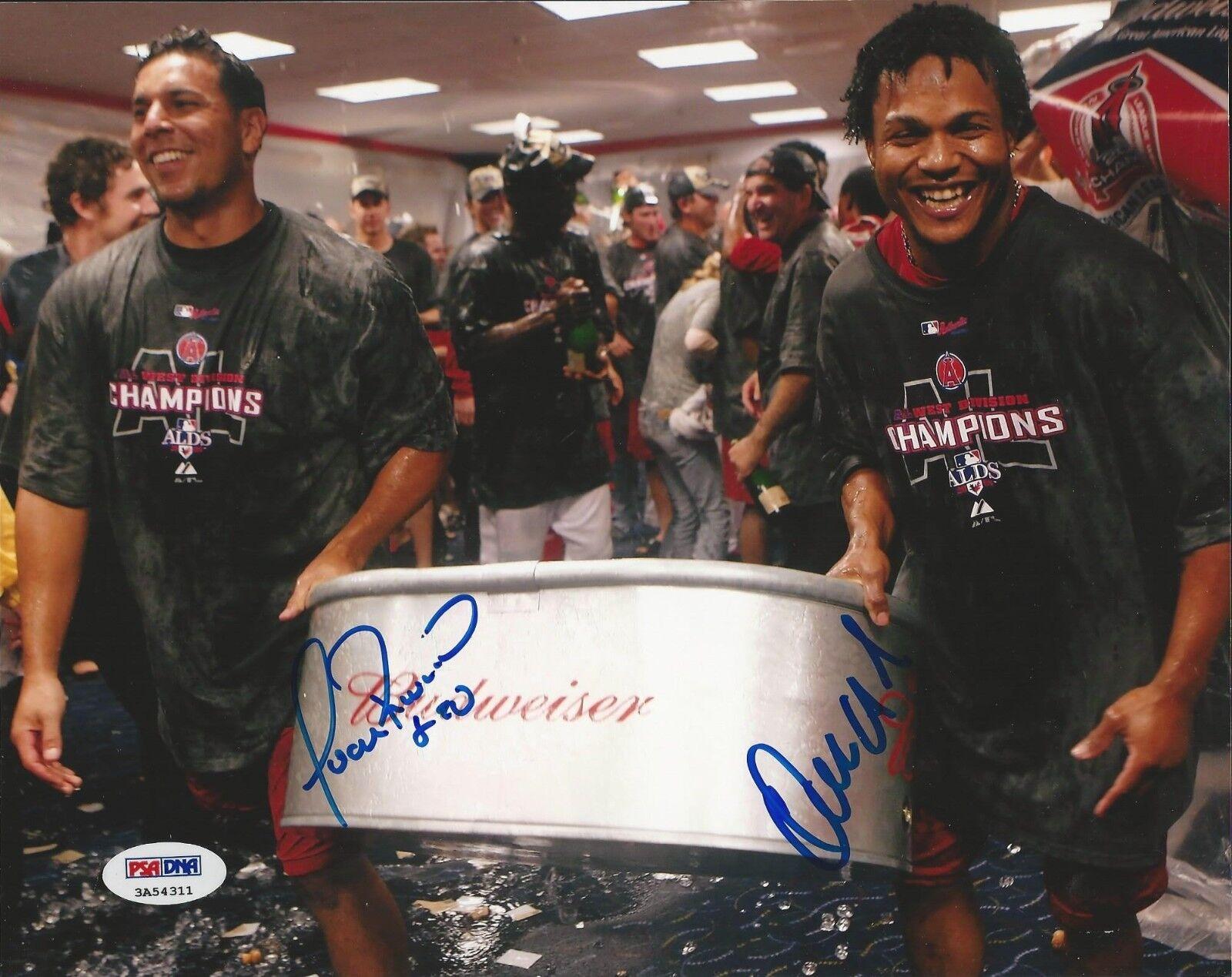 Anaheim Angels Erick Aybar Juan Rivera signed 8x10 PSA/DNA # 3A54311