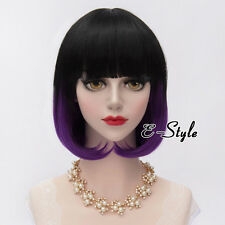 30CM Black Mixed Purple Short Wavy Lolita Lady Girl Cosplay Party Wig With Bangs