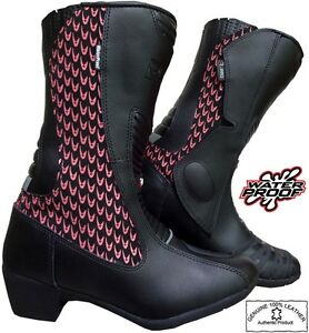 LADIES-PINK-HAWK-WOMENS-MOTORBIKE-MOTORCYCLE-CE-RACING-LEATHER-SHOES-BOOTS