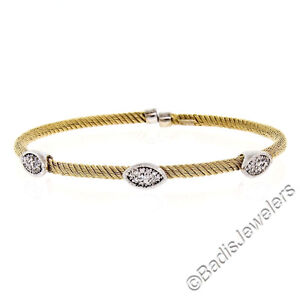 NEW-Italian-14K-Yellow-Gold-6-5-034-Diamond-Stackable-Twisted-Cable-Bangle-Bracelet
