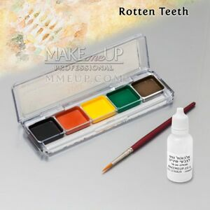 Details about KIT ROTTEN TEETH Alcohol Activated FX Makeup black WATERPROOF  tooth paint SFX
