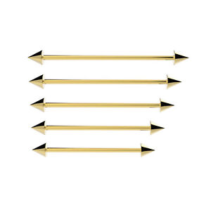 Oro-Industriale-Ponteggio-Orecchio-Bilanciere-Barra-Piercing-Acciaio-Chirurgico