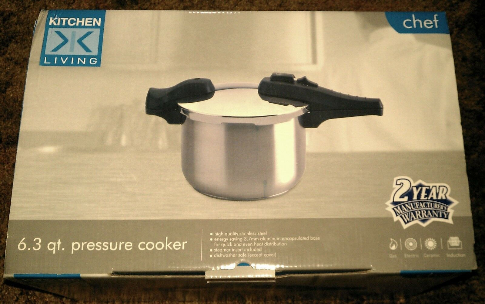 BRAND NEW  6.3 Qt  Stainless Steel  Pressure Cooker Cookware Pot WITH Steamer