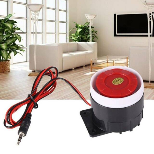 DC 12V Loud Wired Mini Indoor Accessory Horn Siren Sound Home Alarm System -/