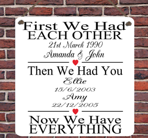 Personalised Family Birth Wedding Anniversary Metal Hanging Plaque Wall Sign