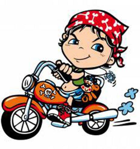 /& Moto Motif Modèle BIKER GIRL Enfants t shirt dans orange avec un Biker