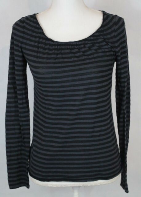 Ann Taylor LOFT Womens Top Small Black Gray Stripe Long Sleeve Cotton Stretch