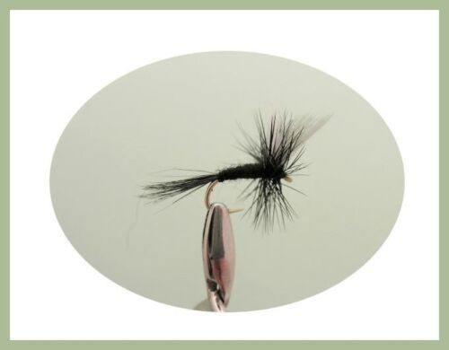12 Pack Black Spider Knotted Midge Dry Black Trout Fishing Flies Black Gnat