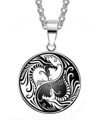 Pendentif acier symbole yin et yang blanc noir