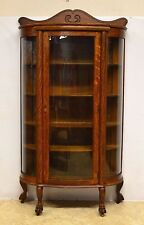 Ebert Furn Co Antique Quartersawn Oak Bowed Curved China Display Cabinet Curio
