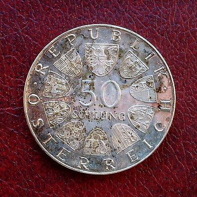 Austria 1973 silver proof 50 schillings