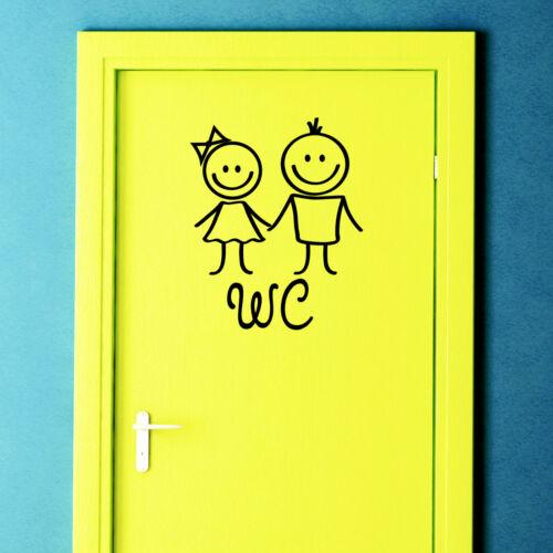 Wandtattoo WC Frau und Mann I Mädchen Junge I Türaufkleber Bad Toilette 10361